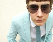 Mens Knitted Necktie Caspian Blue - vKnit