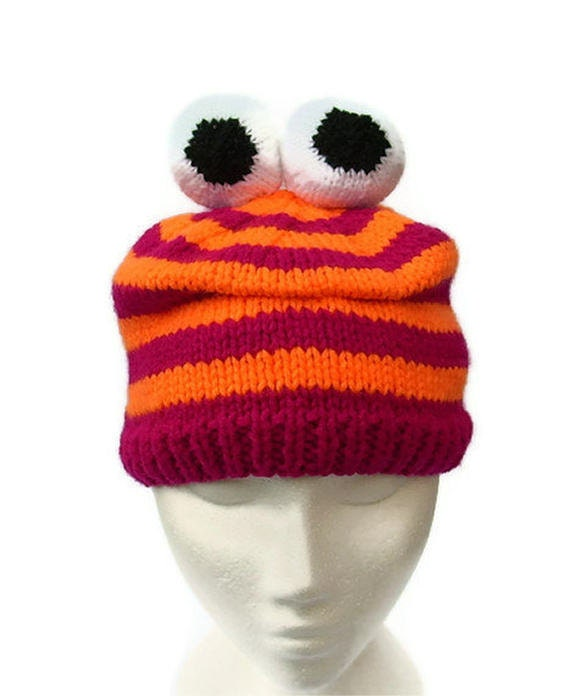 56052782432 Knitted monster hat character hats neon stripe beanie by jarg0n ...