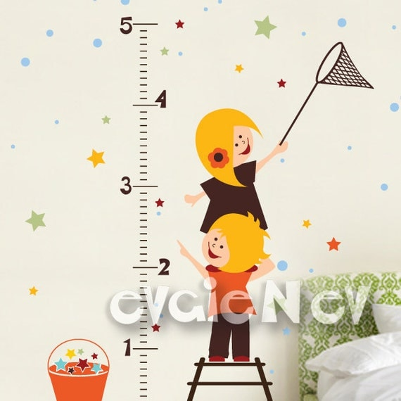 Growth Chart Wall Decals - Outer Space Wall Stickers with SpaceKids Collecting Stars - PLOS070g
