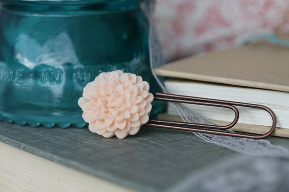 Soft Peach Chrysanthemum Bookmark