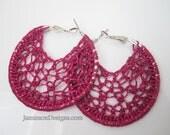 Fuchsia glitter Crochet Hoop earrings -2 inch small