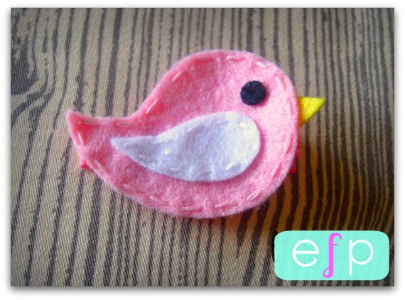 Bird Felt Hair Clip- Baby Hair Clip- Baby Girl Hair Clip with Gripper Toddler Hair Clip Pink