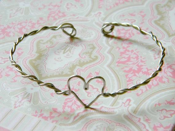 Wire Heart Cuff in silver