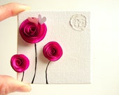 Any 3 Paper Rosette Mini Mixed Media Art Pieces-Your Choice