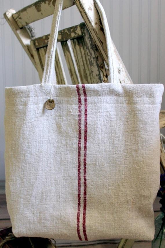 Vintage French Grain Sack Tote Bag Burgundy Red Stripes