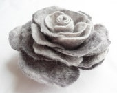 Felt Flower Brooch pin Wool Hair Clip Corsage Grey Gray Silver Rose - softadditions