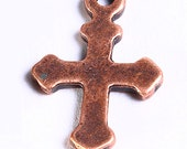 Spring sale - 10 cross charm pendant antique copper 19mm x 12mm 10pcs (718) - TheBeadsofDreams
