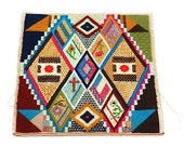 1960's Embroidered Square, Needlepoint, Abstract Needlepoint Design, Geometric, Wall Art, Tribal, - TheNewtonLabel
