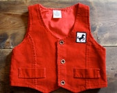 Vintage red corduory vest / waistcoat / black stallion applique / baby 6-12 months - bondplacevintage