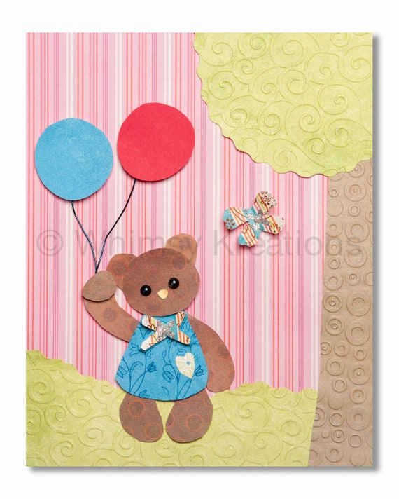 Baby Bear Holding Balloons - Whimsical Nursery Art, Children's Art
