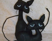 Primitive, Black Cat, Shelf Tucks, Primitive decor, Sculpted face and Painted eyes - FlowerPatchDesigns2