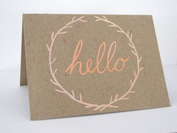 Blank Note Card - Hello Note Greeting Card - hand painted coral and peach