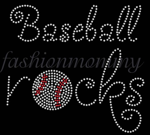 Baseball Rocks - You choose 1 color  Custom Personalized Rhinestone Transfer Iron On Applique Bling Crystal