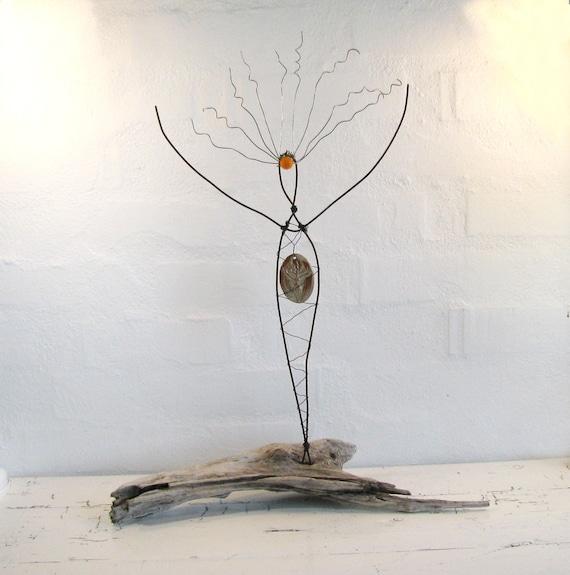Rustic Wire Sculpture Goddess of the Sun. Rustic Wire Art. Driftwood Art. Mixed Media Sculpture.