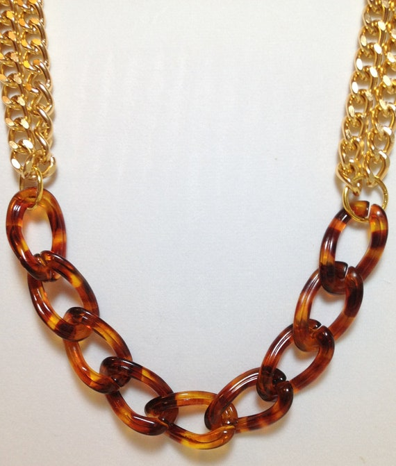 Gold Statement Necklace chunky necklace statement jewelry chain link tortoise RUMOR HAS IT
