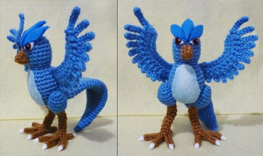Crochet Articuno From Pokemon Amigurumi Finish Doll