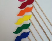 RAINBOW STACHE STICKS (Set of 7 hand cut rainbow stache sticks)