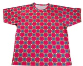 Blue Stars Pink Hearts Womens Shirt Bold Print  Short Sleeve Medium - Valentine Fashion