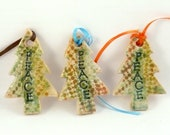 Christmas Tree Ornament / holiday decoration gift tag with PEACE secret santa hostess coworker gift - BlueSkyPotteryCO