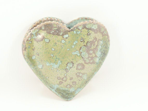 One ceramic heart vases hangs on wall  - Ready2Ship lichen glaze - home decor - thank you birthday new job