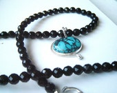Necklace Black Quartz Beads with a Turquoise Cabochon