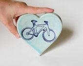 Ceramic Heart Ring Dish // Blue Bicycle Imprint