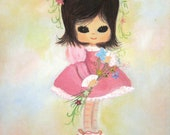 Vintage Big- Eyed Little Girl Painting- Pink Dress, Flowers, Brown Eyes, Eyelashes, Garland in Hair - coreymoortgat