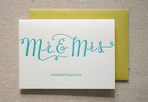 Mr. and Mrs. Letterpress Card