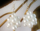 Earrings Pearl Colored Bead Clusters