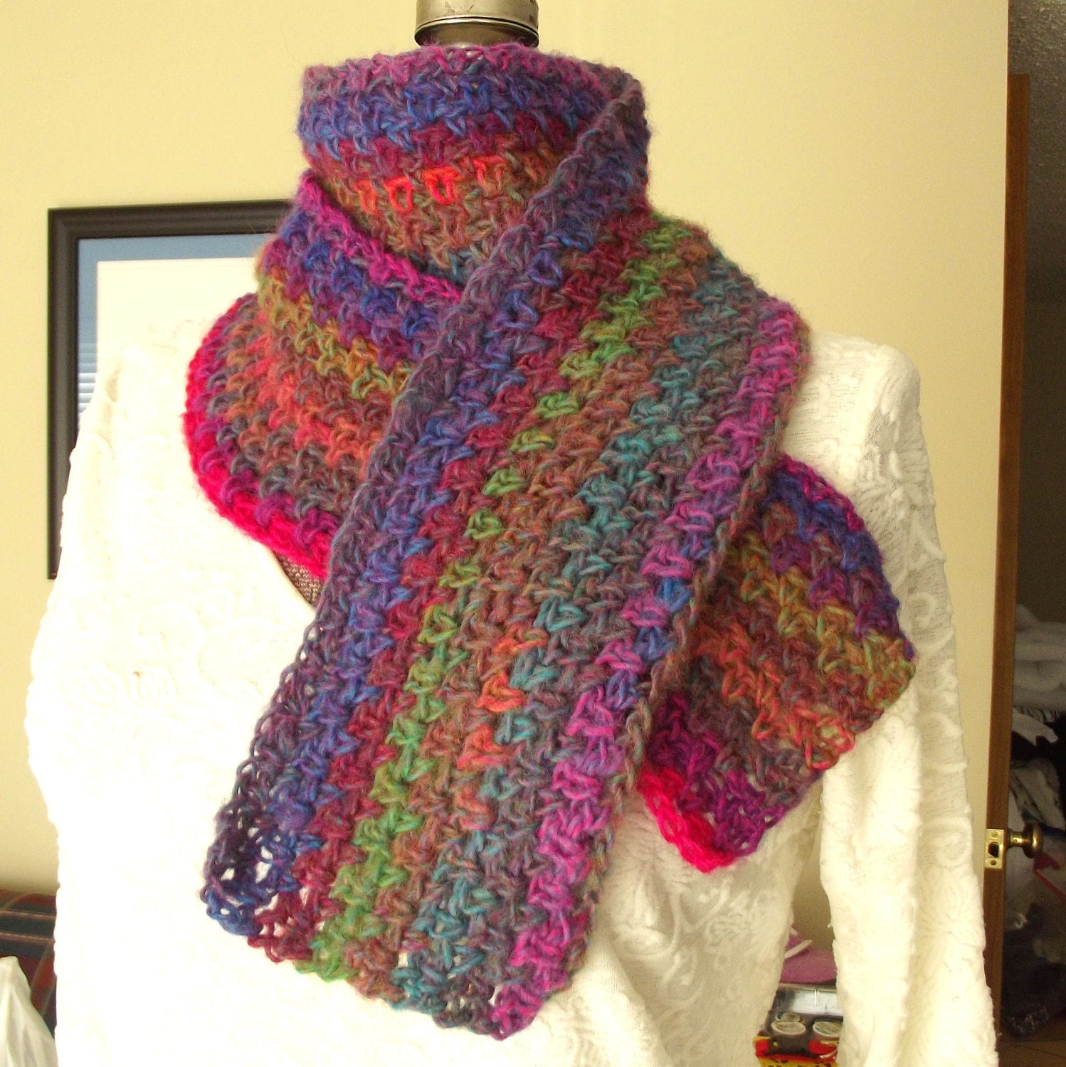Crochet Wool Scarf Handmade Soft Brilliant Colors Hot Pink Purple  Crochet Scarf Two Colors