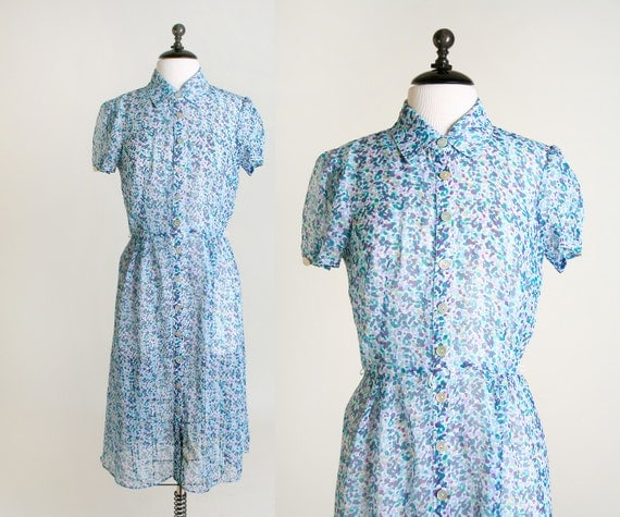 sheer, abstract floral 1950's style dress with shell buttons in blue and purple