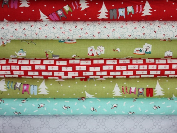 Cherry Christmas Fabric by Aneela Hoey for Moda Fabrics-  Yard Bundle, 7 total