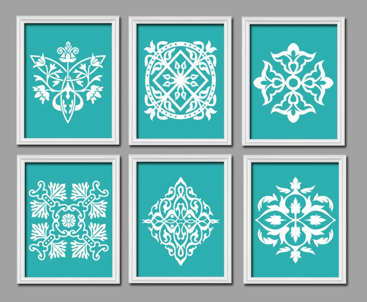 Set of 6 Turquoise White Ornament Design Pattern by trmDesign