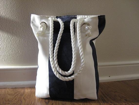 Nautical tote, Lunch bag, Nautical stripe mini tote Bag,  Rope Handles, Navy blue
