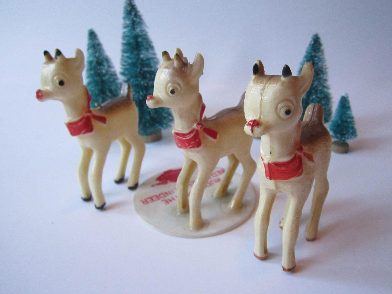 Vintage Bradford Plastic Reindeer Trio