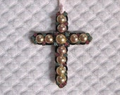 Vintage PEARL and RHINESTONE CROSS 1950s - vintagous