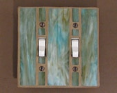 Double Light Switch Plate - Stained Glass - Switch Cover - Moss Green - Olive Green 7434 - JudyEvansCollection
