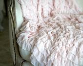 Soft Ruffled Throw, Blanket, Photography Prop. White...Cream...Pink...Grey...Blue...Lavender Available - Shabbyfufu