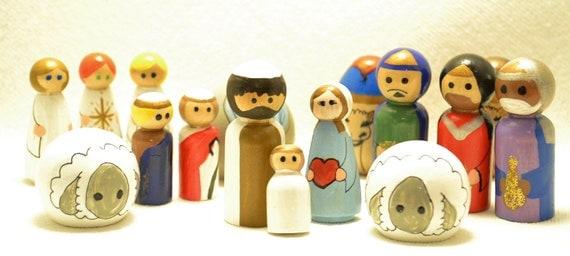 """17 piece Nativity Peg Doll Set -- (2"""")"""