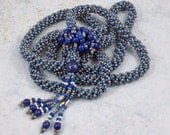 Spiral Rope Tassel Beadwork Lariat Necklace Gray Blue - TinksTreasure