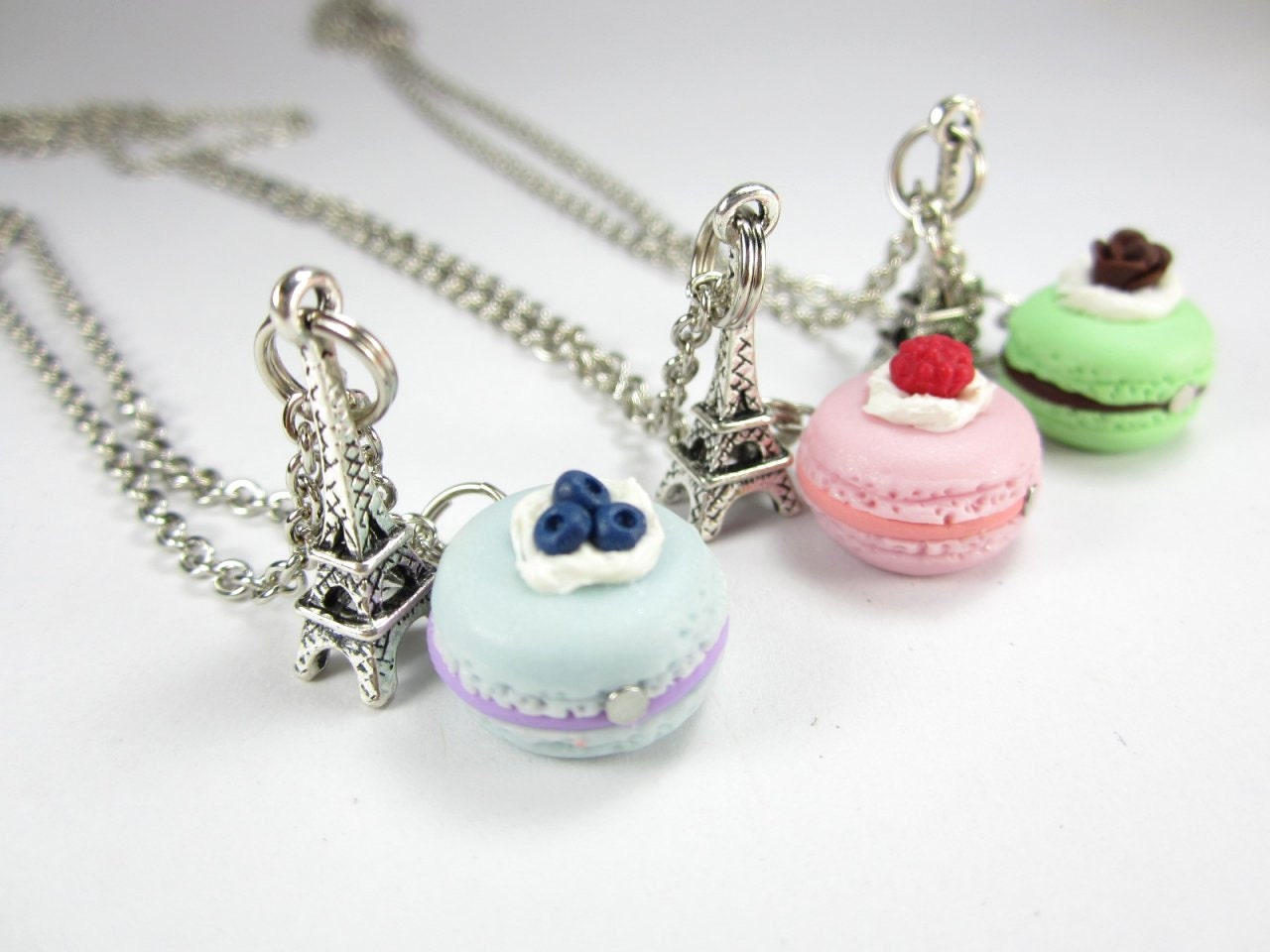 Friendship Necklace on Bff Paris Macaron Necklace Friendship Necklace 3pcs By Fwirl
