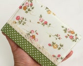 Fabric Journal - Rose Garden with Green Polka Dots - Handmade Fabric Cover A6 Notebook, Diary - Pink Flowers on White With Lace - PatchworkMill