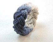 navy and white cotton dip dyed turks head knot rope bracelet 2113