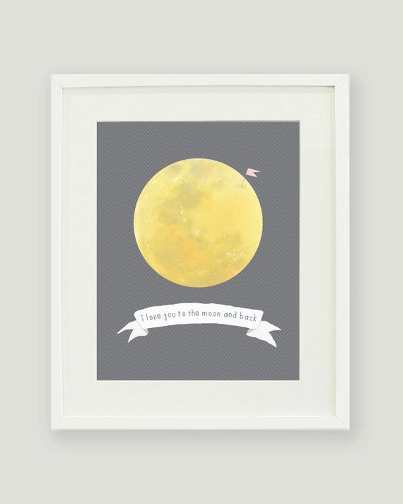 I Love You to the Moon and Back 8x10 Print - Free Shipping
