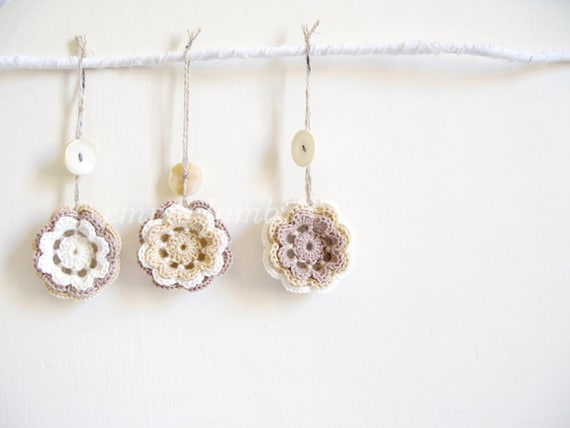 Shabby chic festive flower charms, three crochet Christmas decorations in rustic cream, taupe and white - READY TO SHIP, by Emma Lamb