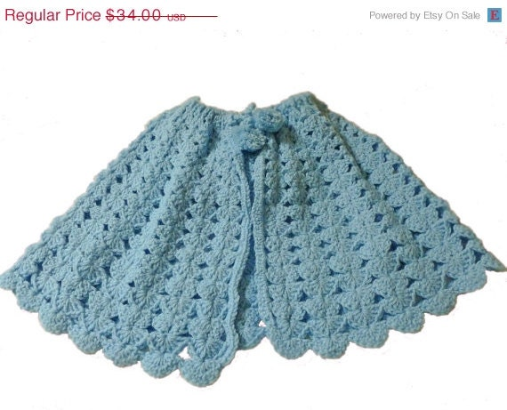 ON SALE Crochet Baby Cape Light Blue with Hood Infant by ...