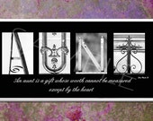 AUNT  Inspirational   Plaque black & white letter art - DPPhotography