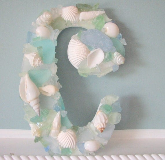 Shell Wall Letters - Beach Decor Sea Glass & Seashell Letters, Many Colors