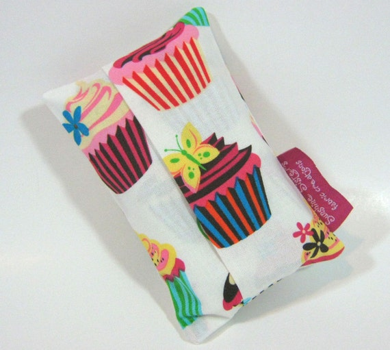 Cupcake Tissue Pouch- Travel Tissue Case using Robert Kaufman's Sweet Tooth Cupcake Fabric