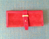 Vintage red suede and leather wallet and document or travel folder 20% - Flyingduckvintage